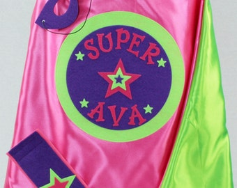 SUPERHERO Cape/Custom Super Name Cape in 3 sizes/Holiday Gift for Kids/Long Lasting 100% Machine Washable-Accessories Available