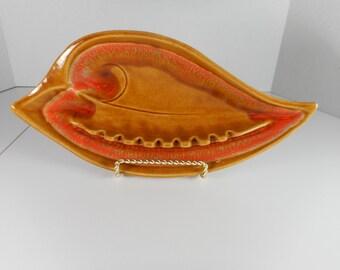 Vintage Santa Anita Ware Ceramic Ashtray...California Pottery Ashtray...Mid Century Atomic Retro Entertaining...Funky Mod Orange Design