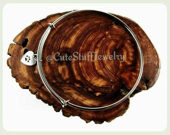 Puppy Love Bracelet, Paw Print Bracelet, Paw Print Bangle, Paw Print Jewelry, Handmade Paw Print Heart Bracelet, Cat Bracelet, Dog Bracelet