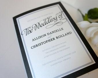 Elegant Wedding Program - Wedding Ceremony Programs, Black and White, Formal Wedding Program, Black and Gray, Shimmer - DEPOSIT
