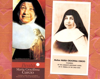 Blessed MOTHER MARIA CURCIO Apostolic carmelite Foundress sealed second class relic card & English translation prayer card