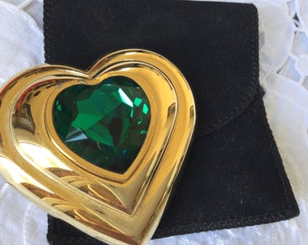 Rare limited edition Vintage YSL green jewelled  heart shaped powder compact 1987