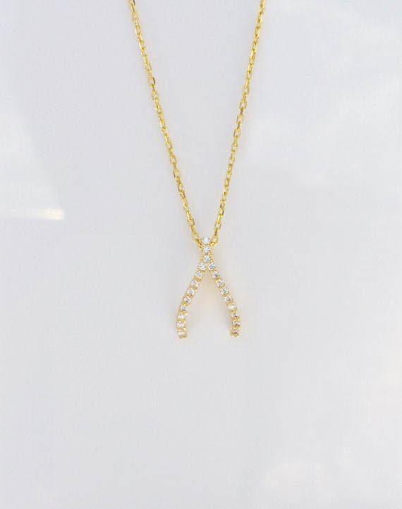 Wishbone necklace gold plated sterling silver and CZ MAKE A WISH