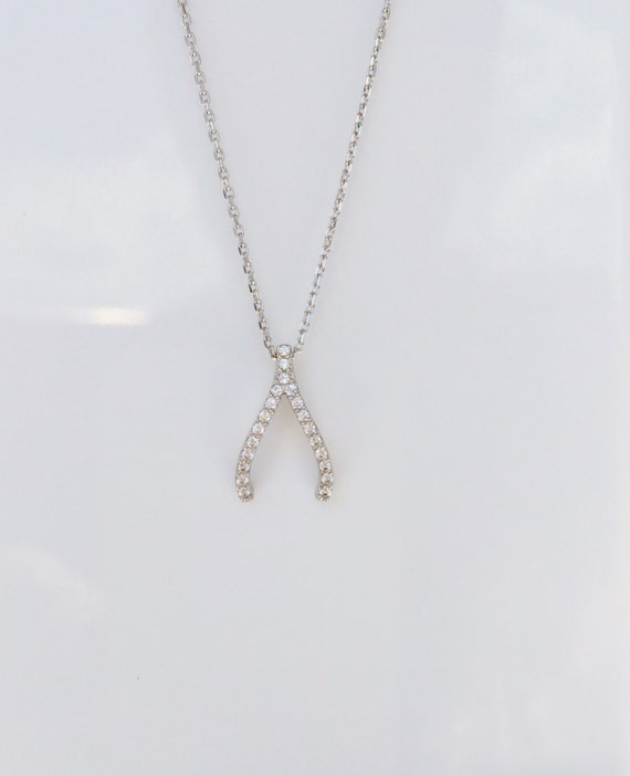 wishbone necklace in solid sterling silver and dazzling cubic zirconia, EVERYDAY LOWEST PRICE