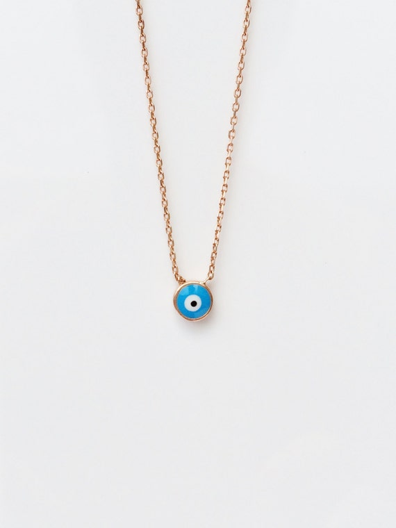 Evil Eye Necklace, in Sweet Rose Gold Plated Sterling Silver • Enamel Lucky Eye in Ocean Blue • Ready For a Perfect Summer • Safe to Get Wet