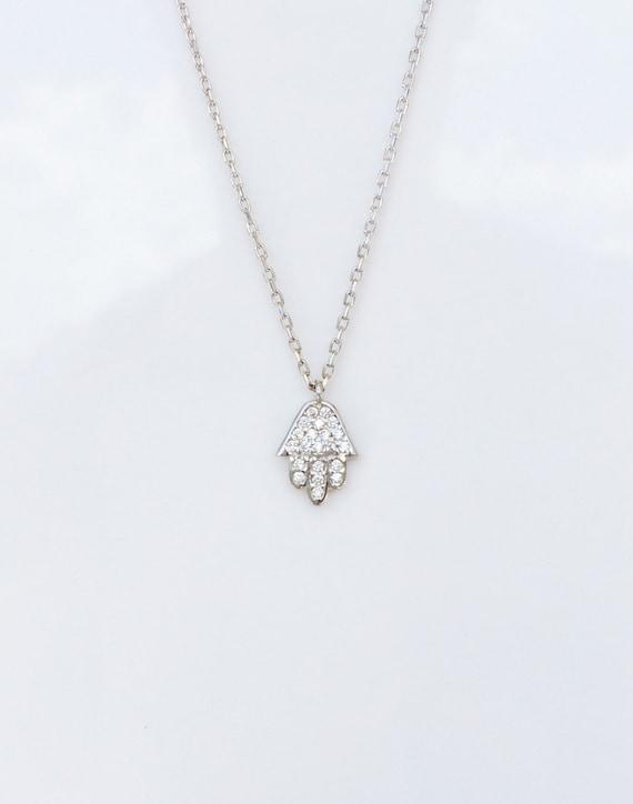 hamsa necklace zirconia sterling silver ON SALE
