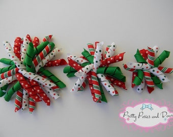 Christmas Hair Bow, Christmas Bow, Red and Green Hair Bows, Christmas Corkscrew Hair Bow, 4 inch Hair Bows, 3 inch Hair Bows, 2 inch Hair Bo