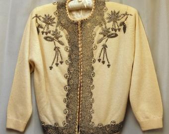 Vintage 1960's Cream Beaded Cardigan Sweater