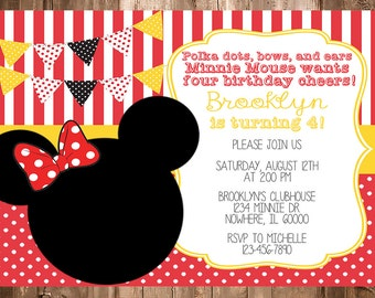 Minnie Mouse Red Birthday Invitation