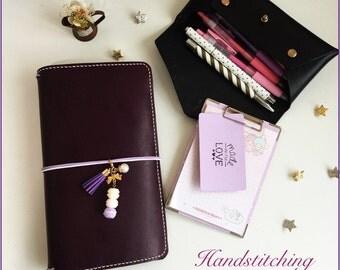 Deep Violet Oil Waxed Leather Pelledori Journal/ Travelers Notebook