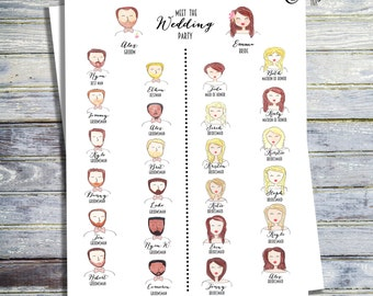 Hand Painted Printable Meet The Wedding Party Program, Watercolor Wedding Program, Custom Wedding Program, Wedding Party Printable