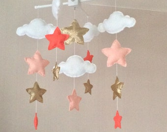 Baby mobile - Baby girl mobile - Cot mobile - Star mobile - Cloud Mobile - Nursery Decor - Clouds and stars - Gold and coral