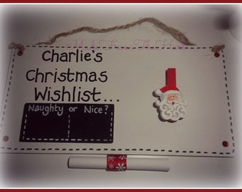 Handcrafted Personalised Christmas Wishlist Plaque
