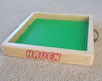 Personalized LEGO tray 10x10 with optional handles, for travel or portable fun