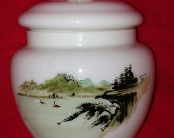 Unique Hand Painted Japanese Lidded glass Jar, Temple Jar, Ginger Jar RARE survivor