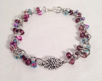 Purple beaded bracelet, chain bracelet, purple bracelet, purple flower bracelet