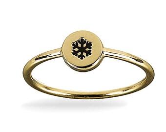 9ct Yellow Gold Snowflake ring