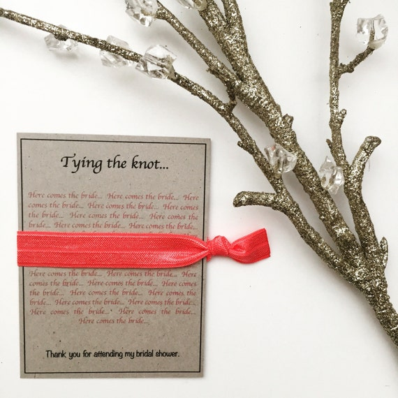 Wedding Gift Ideas The Knot : Tying the Knot Bridal Shower Favor Ribbon Hair Tie Thank You Gift