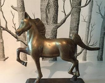 Vintage Brass Horse Statue Figurine Bookend Equestrian