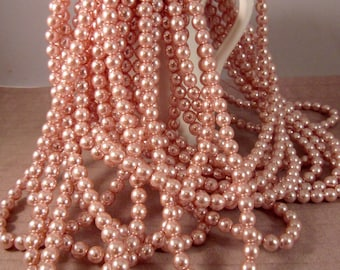 PIROUETTE 6mm Round Pearl Coat Beads - Pink Rose Czech Glass Pearls - Light Pink Blush and Bashful Rum Pink - Qty 75 (P6-205)