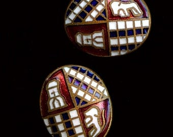 Vintage Japanese checkerboard enameled brass domed cabochons, 12x10mm Pkg of 2. b5-641(e)