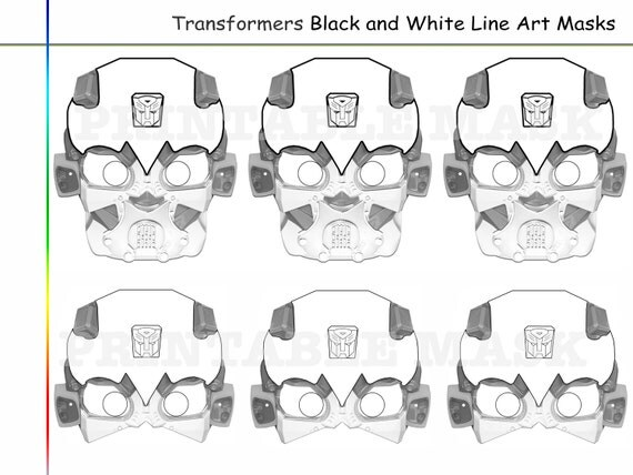 Coloring Pages Transformers Party Printable Black And White Line Art Masks Kids Costume Mask Transformer Heroes Props Decoration