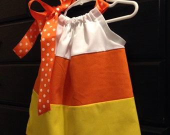Candy Corn Pillowcase Dress