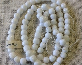 opaque white baroque vintage handmade Japanese glass beads 5 mm