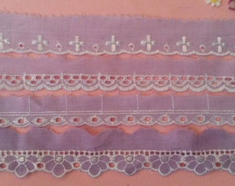 2 Yards PURPLE Lace Lace Scalloped Eyelet Lace Trim 1 Inch Wide Polyester
