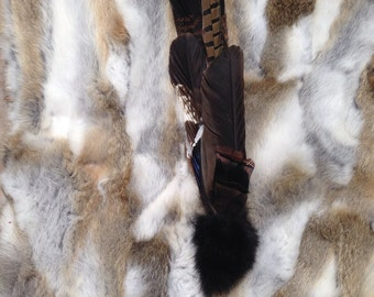 Ceremonial Feather Smudge Fan with Rabbit Fur & Antler