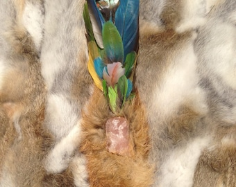 Ceremonial Feather Smudge Fan with Macaw Feathers, Antler, & Rose Quartz