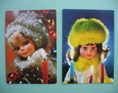 2 lovely vintage christmas card with dolls with candles, retro christmas prints, home decoration