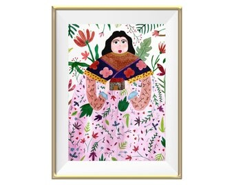 Detailed Nature Woman Watercolor Art Print --- Beautiful Home Decor Piece