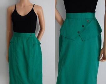High waisted peplum skirt, French vintage retro 80s skirt, knee length French secretary pencil skirt, small medium