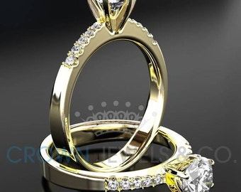 Diamond Engagement Ring For Women 1.65 Carat D VVS Round Brilliant Cut With Side Accents In 14 Karat Yellow Gold Setting
