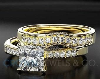 Diamond Ring 1.35 Carat D VS Bridal Jewelry Set Princess Cut Women Engagement Ring And Band 14 Karat Yellow Gold