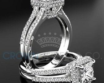 Princess Cut Engagement Ring 1.80 Carat F VS Diamond Women's White Gold Setting With Side Accent Diamonds