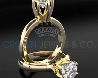 Women Diamond Wedding Ring 1 Carat H VVS2 Round Brilliant Cut 18K Yellow Gold Setting Size 4 5 6 7 8