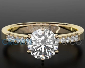 1.4 Carat D SI Diamond Engagement Ring Round Cut Wedding Ring In 14K Yellow Gold Women Jewelry Size 4 5 6 7 8