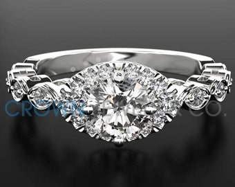 Engagement Ring With Accents 0.65 ct Round Brilliant Cut Diamond Certified F Si2 Ladies White Gold Ring 18K Setting