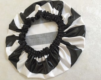 Black and White Stripe Shower Cap, Non-allergenic, Durable Laminated Cotton. Quality Shower Caps. Adult Size.
