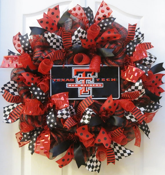 College Wreath Deco Mesh Wreath With Texas Tech Sign Texas