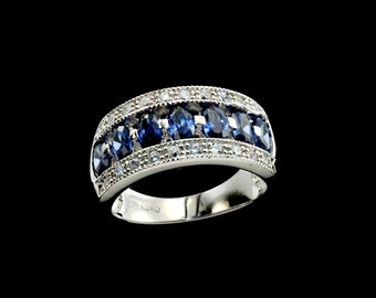 Stunning Tanzanite Marquises Ring/Band .925 Sterling Silver.
