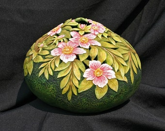 Wild Roses Carved Gourd