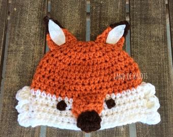 crochet fox hat, toddler fox hat, baby fox hat, newborn fox beanie, fox beanie, child fox hat, woodland animal hat, fall hats.