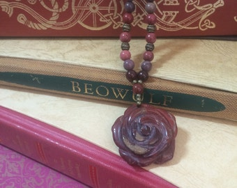 Red Jasper Flower Necklace, Rose Necklace, Handmade necklace.