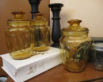 Amber Glass, Storage Jar, Vintage Set