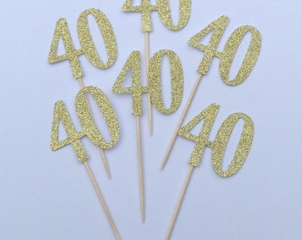 Gold Sparkly Glitter 40th Cupcake Toppers, 40th Birthday Cake Toppers,  Number 40 cake toppers