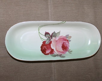 HOLIDAY SALE Antique Piece of China, Z S & Co Bavaria Zeh, Scherzer Co, in Bavaria Germany, Bread Serving Dish, Serving Dish, Two Roses,