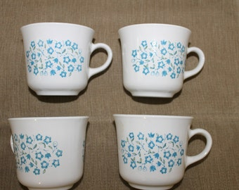 Corelle by Corning in New York, N. Y, Made in USA, No Microwave, FOUR Blue Heather Coffee - Tea Cups, Drink ware, Home Decor, Collectible